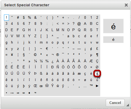 Select the special character or diacritical mark you want to insert.
